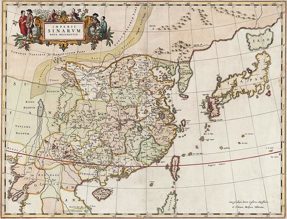 Willem Janszoon Blaeu (1571-1638) map titled Imperii Sinarum nova descriptio (Empire of China, new description), produced between 1648-1655 (National Library of Australia)